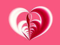 Röd och vit valentinfractal för rosa färger som, visar en stor hjärta med olika halvor royaltyfri illustrationer