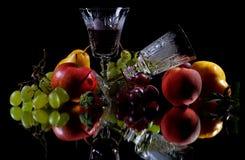 Röd och vit wine Arkivfoto