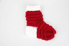Röd och vitxmas-socka Arkivfoto