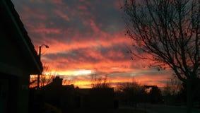 Röd orange ökenhimmel för brand Royaltyfria Foton