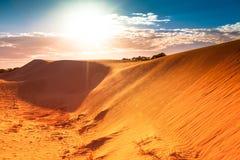 Den röda sanddynen med skvalpar och slösar skyen Royaltyfri Foto