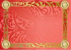 Röd Paisley Cert Royaltyfri Fotografi