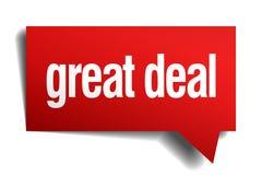 Röd pappers- anförandebubbla för stort avtal stock illustrationer
