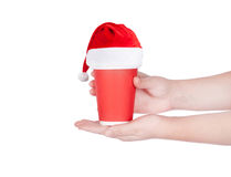 Röd pappers- kaffekopp Arkivbild