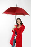 röd paraplykvinna Royaltyfria Foton