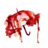 Röd paraplyvattenfärgfläck stock illustrationer