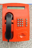 Röd payphone Royaltyfri Fotografi