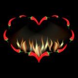 Röd peppar för valentinkort i brand Arkivfoto