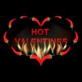 Röd peppar för valentinkort i brand Arkivbild