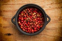 Röd peppar i en bunke Arkivbild