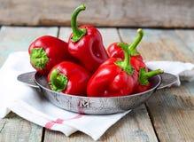 Röd peppar och persilja rotar på en träbakgrund Selektiv foc Fotografering för Bildbyråer