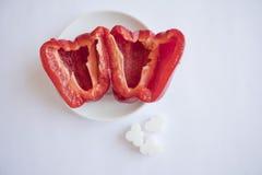Röd peppar och socker Royaltyfria Bilder