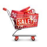 Röd Pictogram för Sale full shoppingvagn Royaltyfria Foton