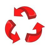 Röd pilåtervinningsymbol, tecknad filmstil Arkivbild
