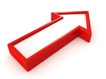 röd pil 3d på vit bakgrund stock illustrationer