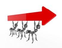 röd pil 3d med ants.concept Royaltyfri Fotografi