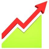röd pil 3d och grönt diagram Arkivfoto