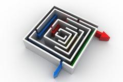 Röd pil i labyrinten royaltyfri illustrationer