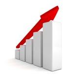 Röd pil- och framgångstånggraf som växer upp Arkivbild