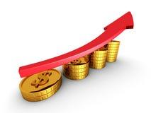 Röd pil och guld- mynttillväxtdiagram Framgångaffär Concep Royaltyfria Foton