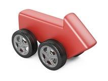 Röd pil på ett bilhjul Snabb leverans - begrepp Arkivbilder