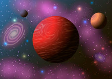 Röd planet, nebulosa och stjärnor i utrymme Royaltyfri Bild