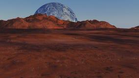 Röd planet och avlägsen planet Arkivfoto