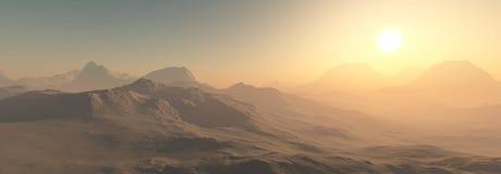Röd planet, panorama- landskap av Mars Royaltyfri Fotografi