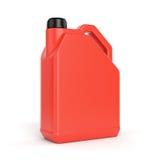 Röd plast- bensindunk Arkivfoton