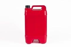 Röd plast- bensindunk Royaltyfria Bilder
