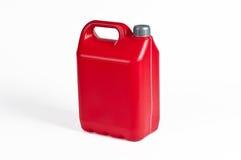 Röd plast- bensindunk Arkivbilder