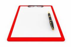 Röd plast- skrivplatta med reservoarpennan Fotografering för Bildbyråer
