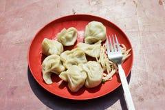 Röd platta av traditionella nepalimatmomos Ånga lagade mat momos Royaltyfria Bilder