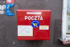 Röd polsk brevlåda Fotografering för Bildbyråer