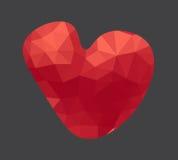 Röd polygonehjärta Abstrakt geometrisk design med utrymme för text Royaltyfria Bilder