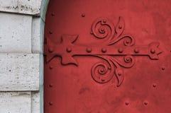 Röd port med modellen Royaltyfri Bild