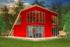 Röd privat cottage3 Fotografering för Bildbyråer