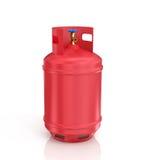 Röd propancylinder med komprimerad gas Arkivbilder