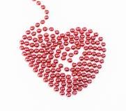 Röd prydd med pärlor hjärta Royaltyfri Foto