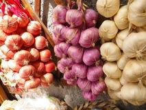 Röd, purpurfärgad och vit vitlök som hänger i den Amalfi marknaden royaltyfria bilder