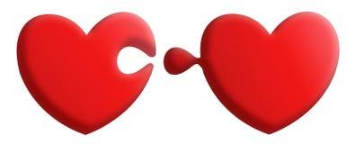 Röd pusselhjärta Royaltyfria Bilder