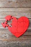 Röd pusselhjärta Royaltyfri Fotografi