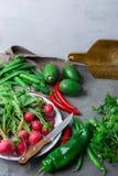Röd rädisa för nya organiska grönsakörter i paprikan varma Chili Peppers för ärtor för persilja för emaljmaträttavokadon på den m Arkivfoton