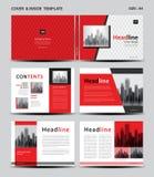 Röd räkningsdesign och insidamall för tidskriften, annonser, presentation, årsrapport, bok, broschyr, affisch, katalog som skriva vektor illustrationer