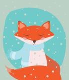 Röd räv för gullig vinter Arkivfoton