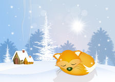 Röd räv i vinterdvala vektor illustrationer
