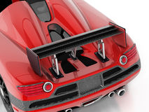 Röd racerbil med kolfiberspoiler illustration 3d Royaltyfri Bild