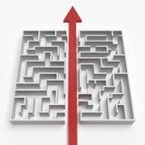Röd rak linje till och med labyrinten royaltyfri illustrationer