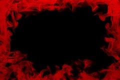 Röd ram för flamma runt om den svarta bakgrunden Royaltyfri Foto