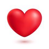 Röd realistisk hjärta som isoleras på vit Arkivfoton